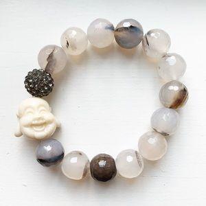 Gray glass & ivory Happy Buddha bead bracelet